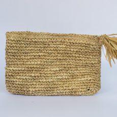 Tassel Raffia Palm Clutch
