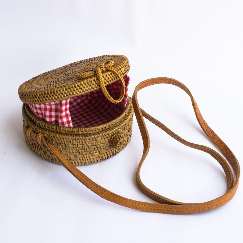 Mini Gingham Round Rattan Bag