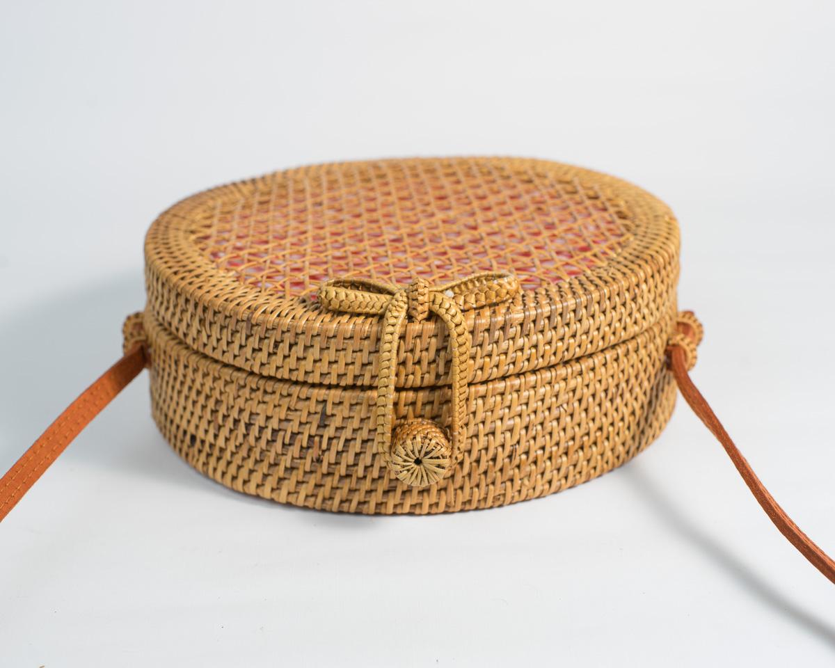 Gingham Mesh Round Rattan Bag