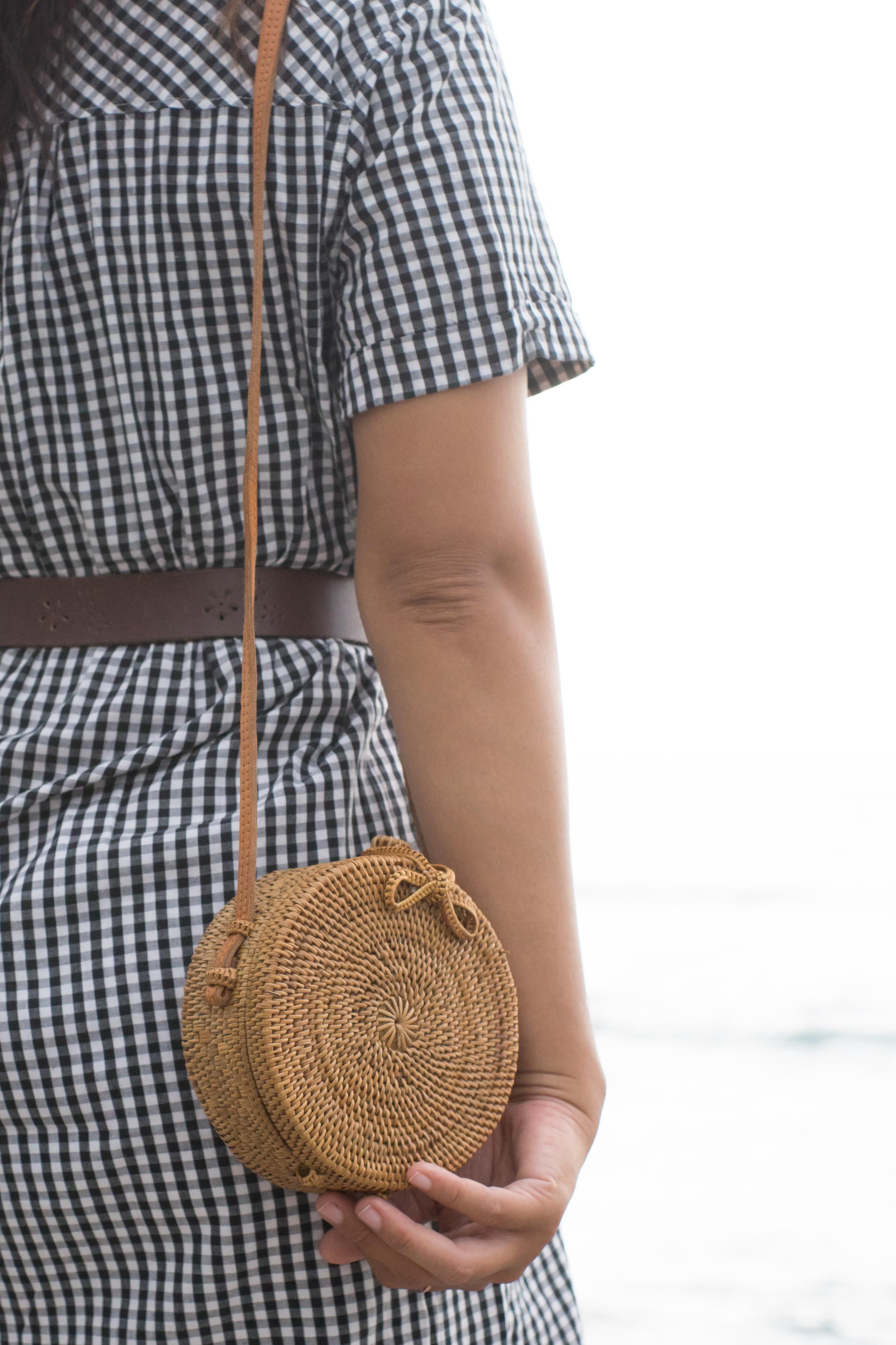 PolkaDee Mini Rattan Straw Bag