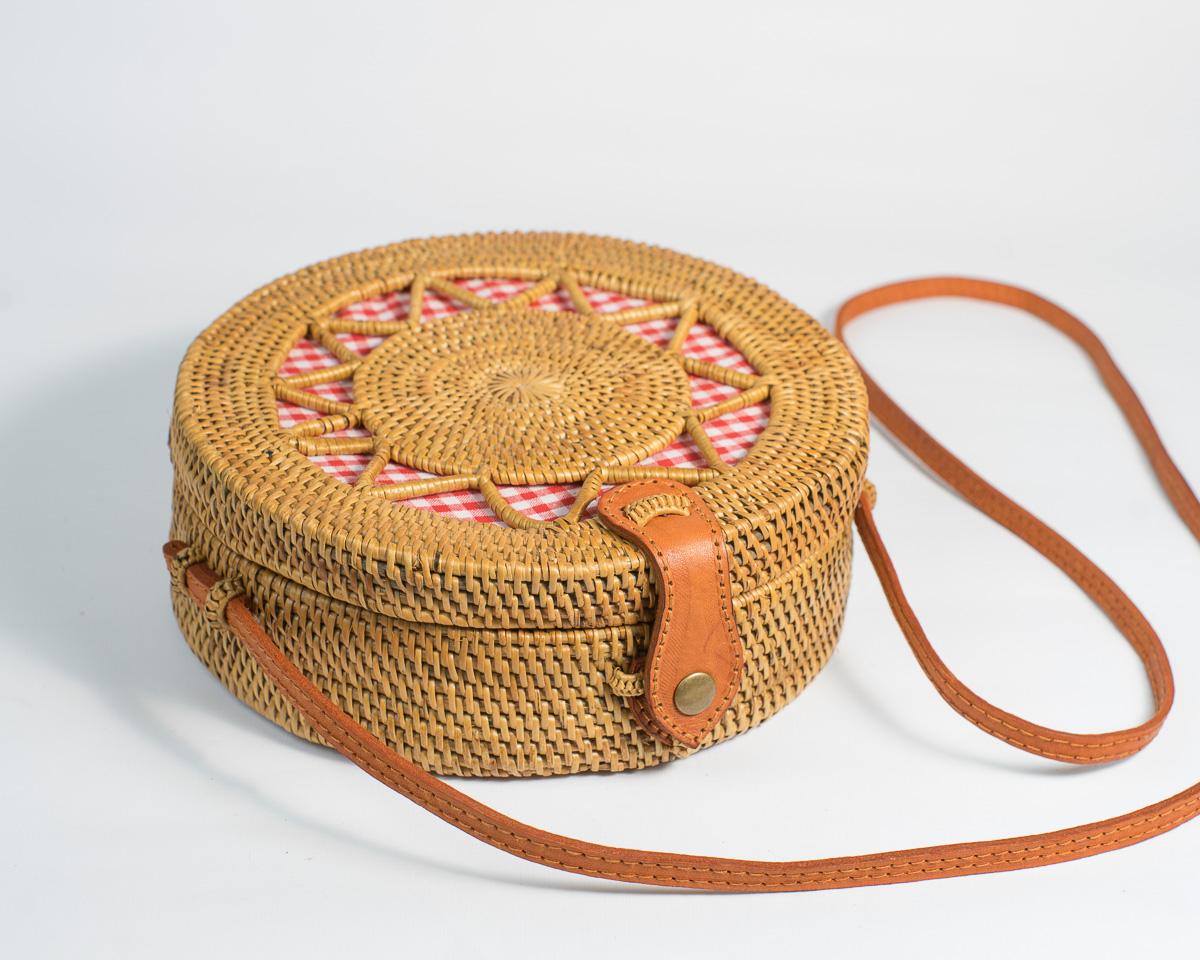Gingham Star Round Rattan Bag