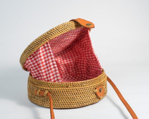 Gingham Round Rattan Bag