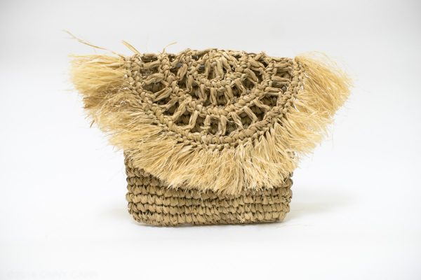 Fringed Raffia Palm Clutch