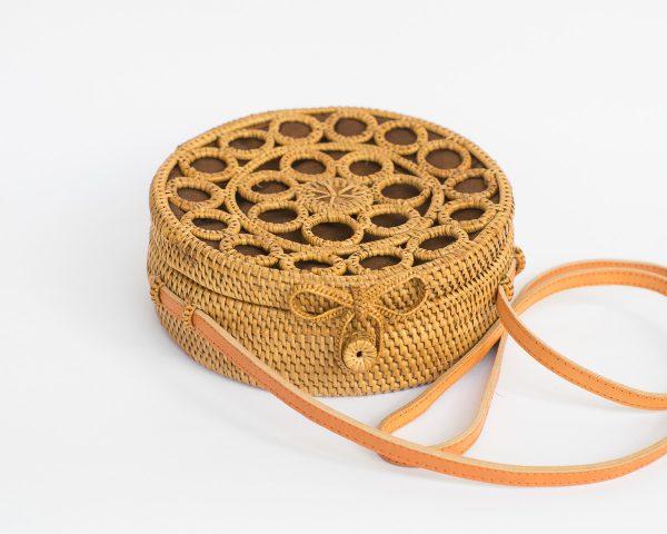 Mosaic Round Rattan Bag