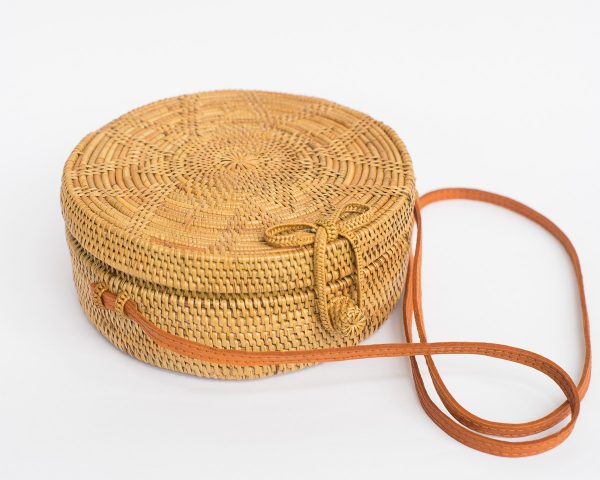 Floral Round Rattan Bag