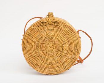 Floral Round Rattan Bag