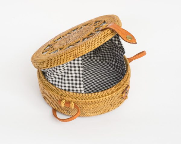 Gingham Star Round Rattan Bag