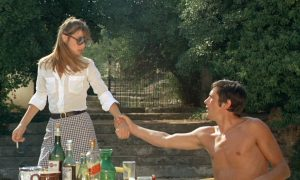 Jane Birkin in gingham miniskirt