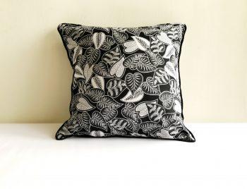 Black Foliage Batik Cushion Cover