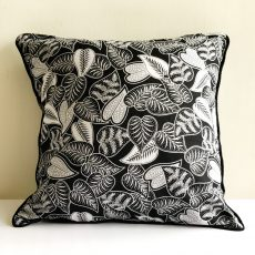 Black Foliage Batik Cushion Cover